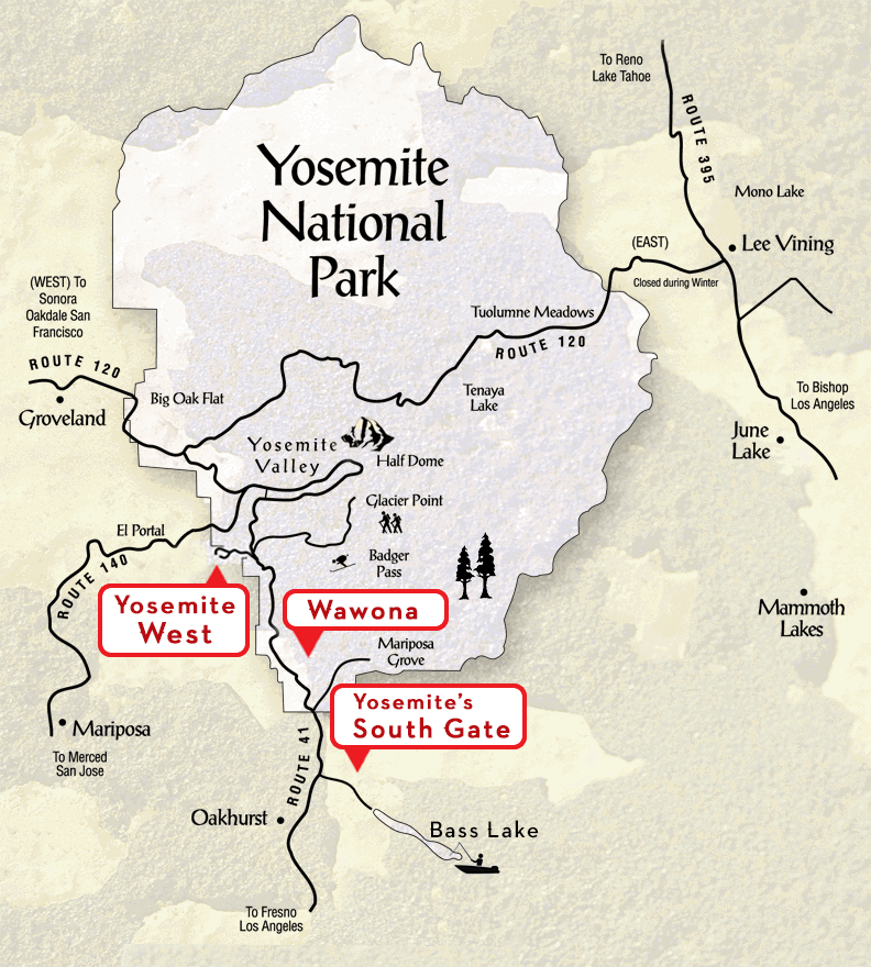 Park Attractions and Activities – Yosemite Tourist Map