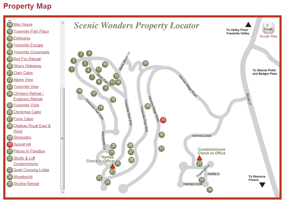 Property Map Yosemite Rentals