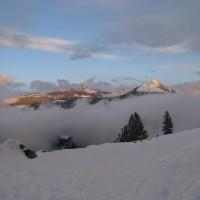 Yosemite skiing sunset